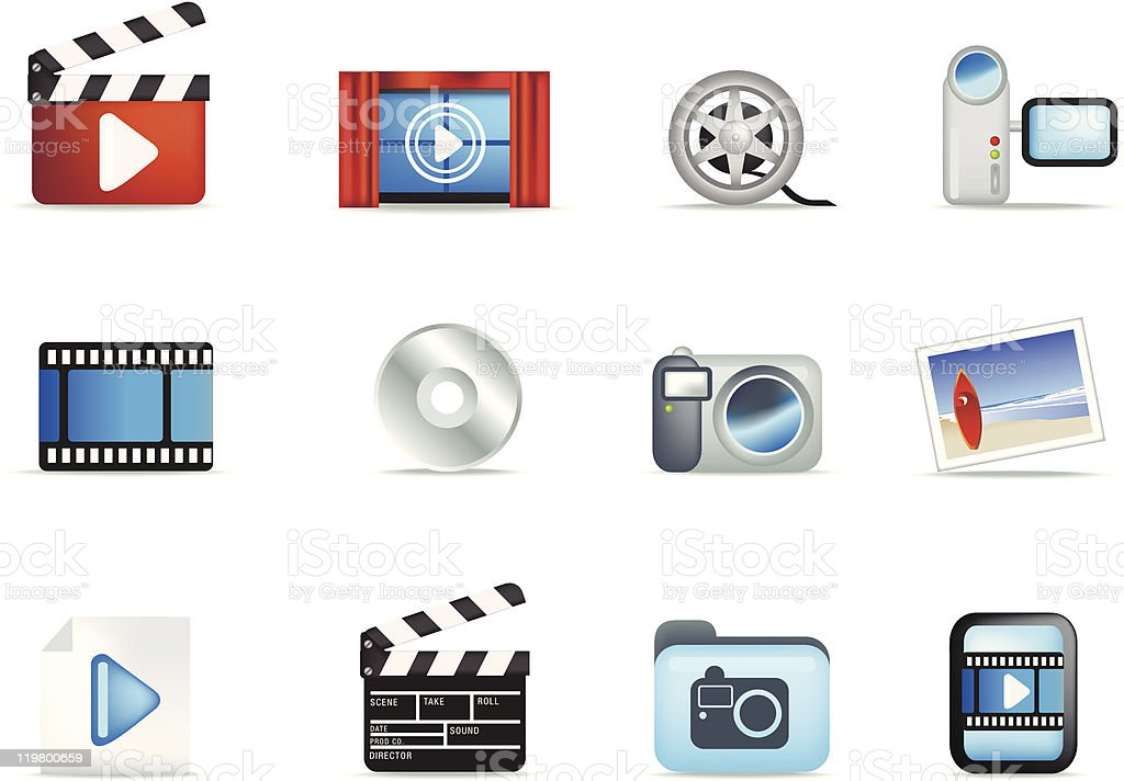 set of movie and photo icons vector art illustration