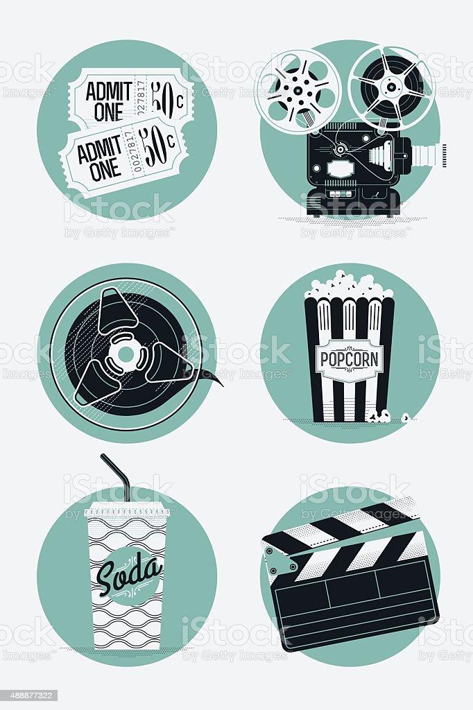 Set of movie entertainment roud icons vector art illustration
