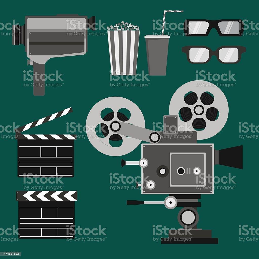 Set of movie objects vector art illustration