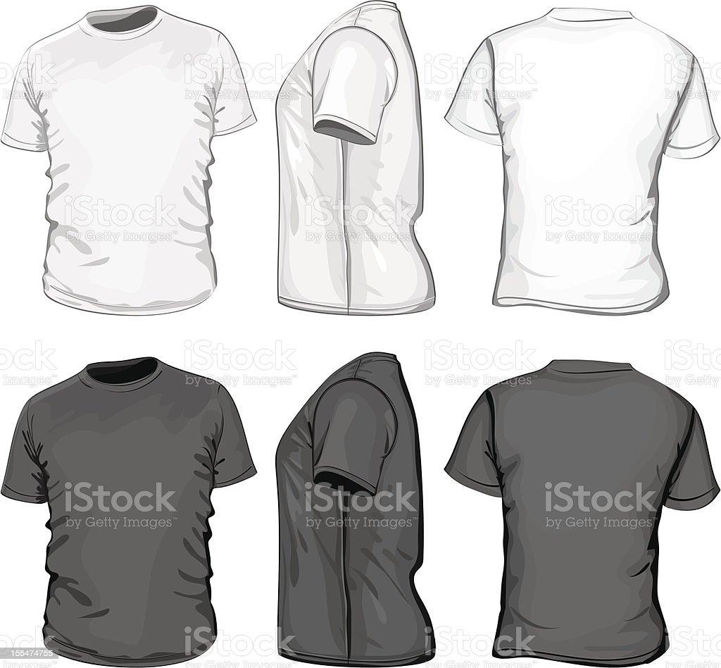 Set of multi-angle men's t-shirt design template vector art illustration