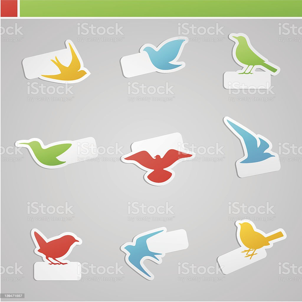Set of multicolored birds with tags. royalty-free stock vector art
