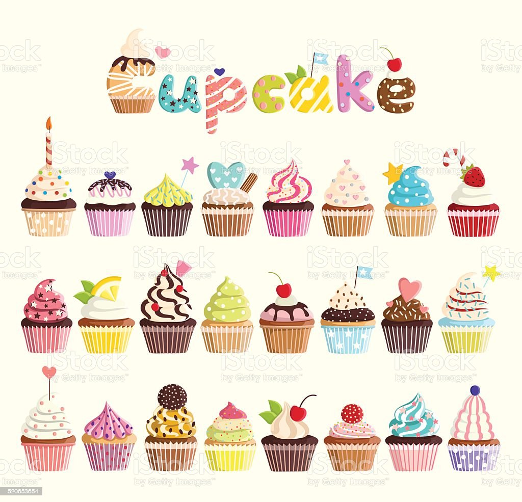 Set of multicolored cute cupcakes. vector art illustration