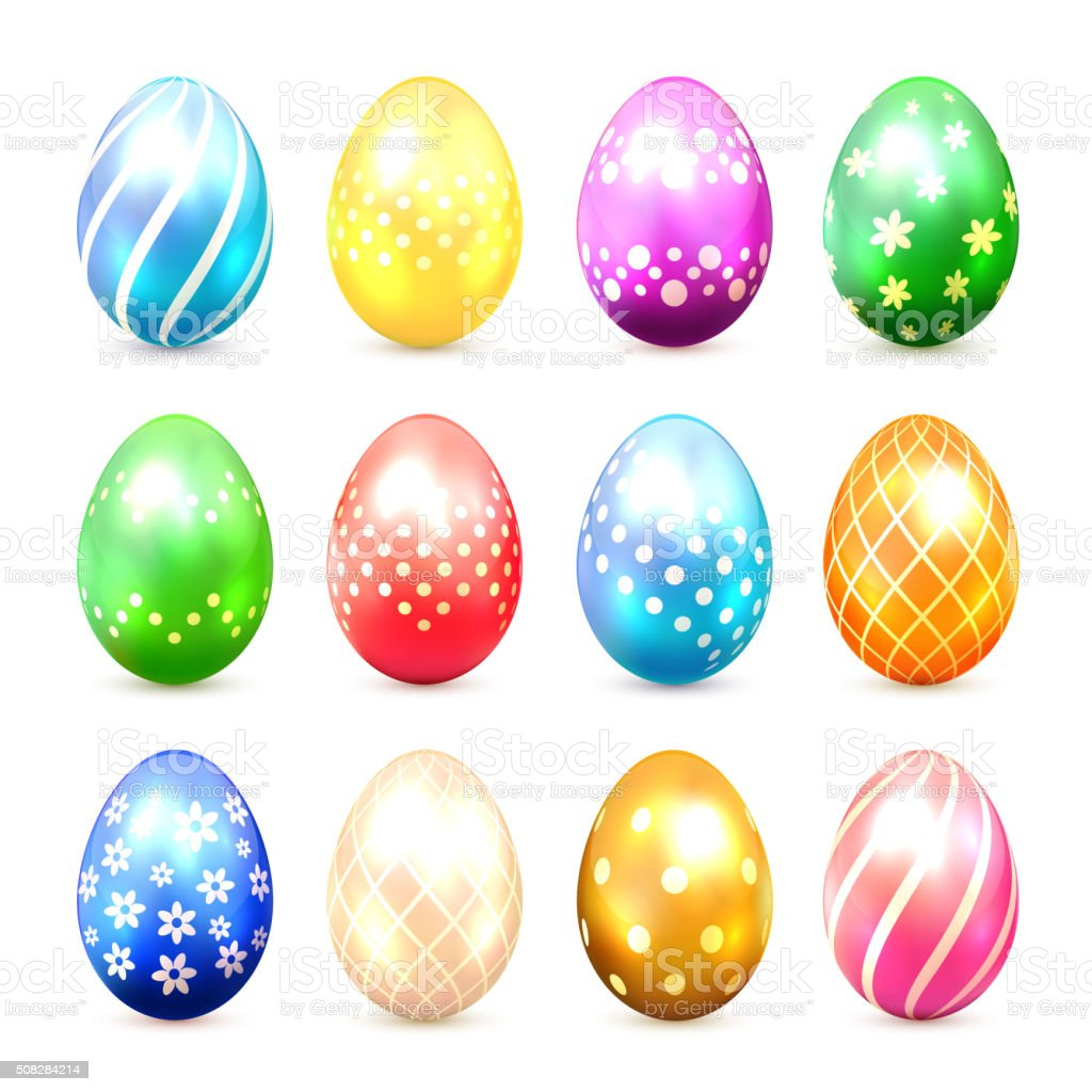 Set of multicolored Easter eggs with decorative patterns vector art illustration
