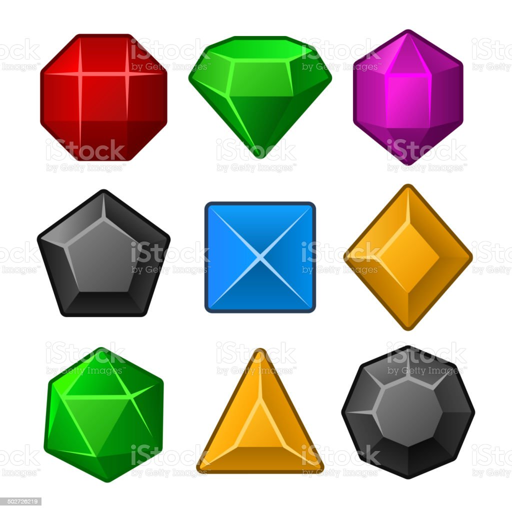 Set of Multicolored Gems for Match3 Games. Vector royalty-free stock vector art