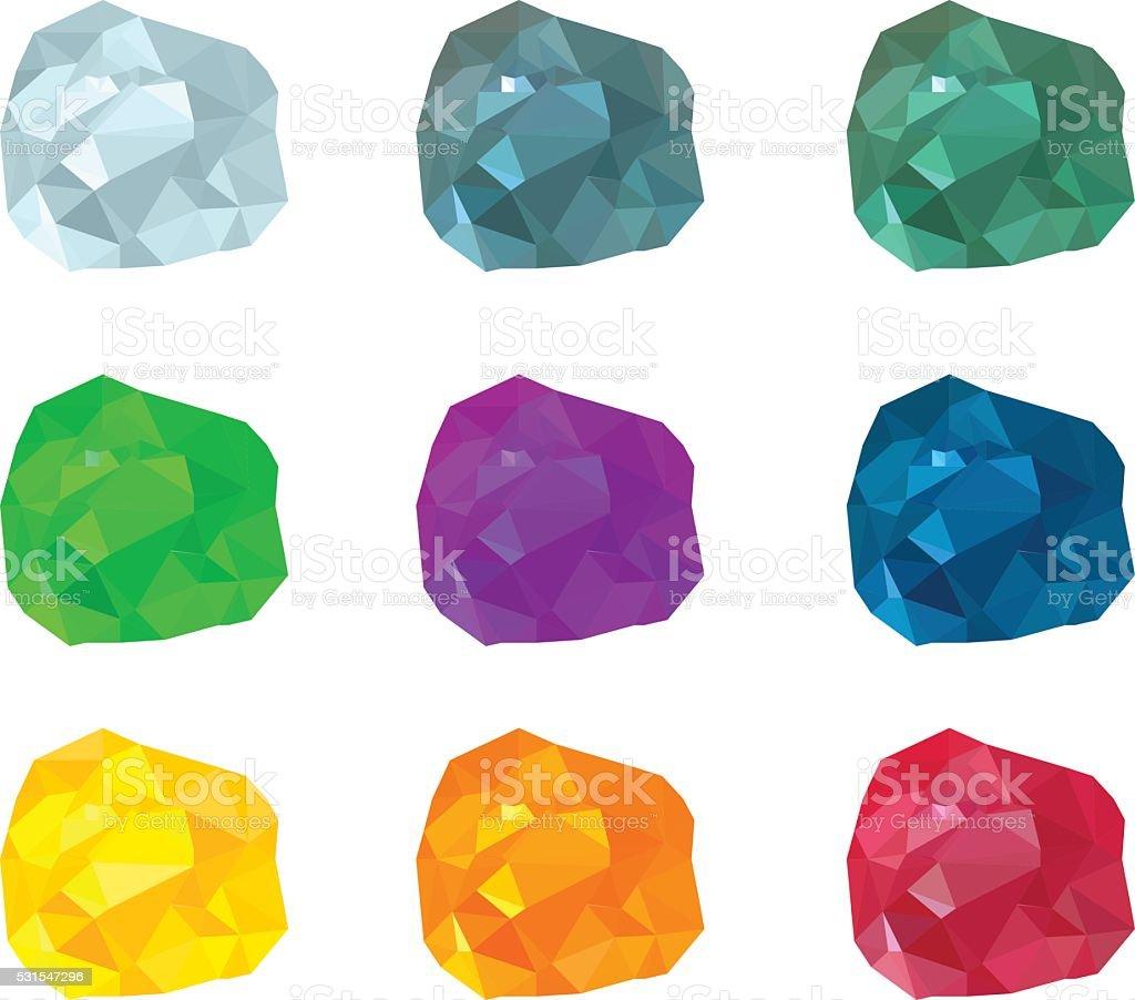 set of multicolored gemstones vector art illustration