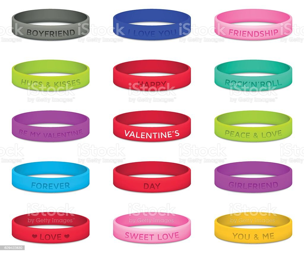 Set of multicolored rubber wristbands for Valentines Day. Vector illustration. vector art illustration