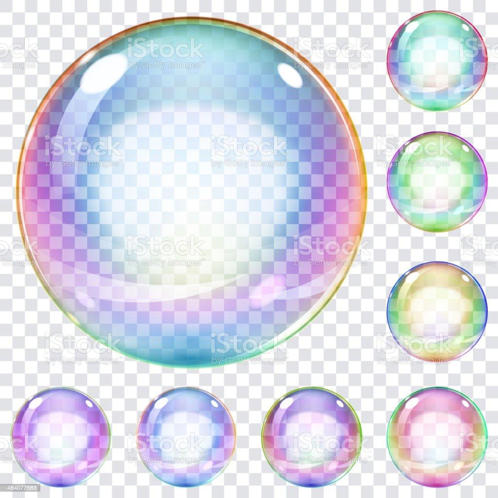 Set of multicolored soap bubbles vector art illustration