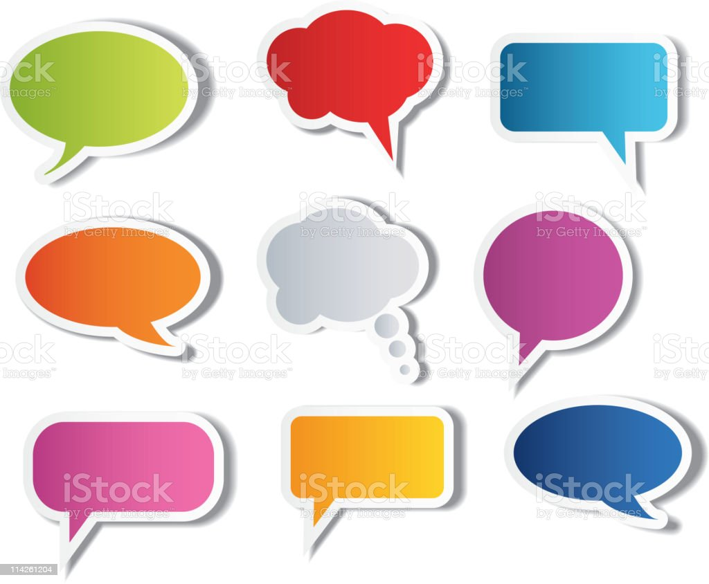 Set of multicolored speech bubbles royalty-free stock vector art