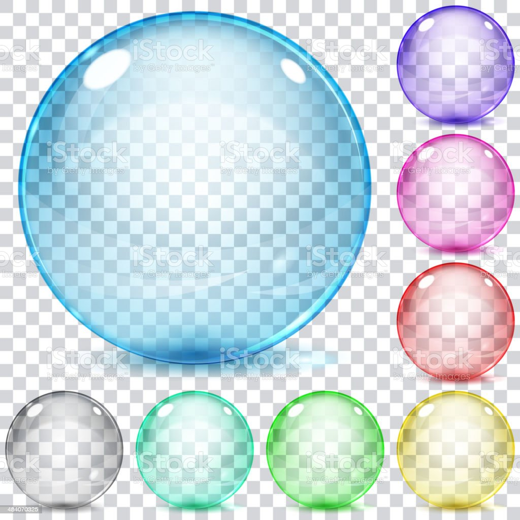 Set of multicolored transparent glass spheres vector art illustration