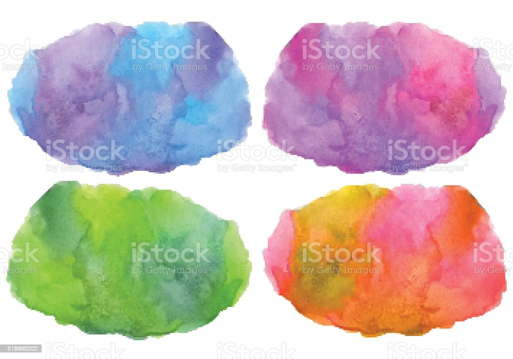 Set of multicolored vector stain watercolor background vector art illustration