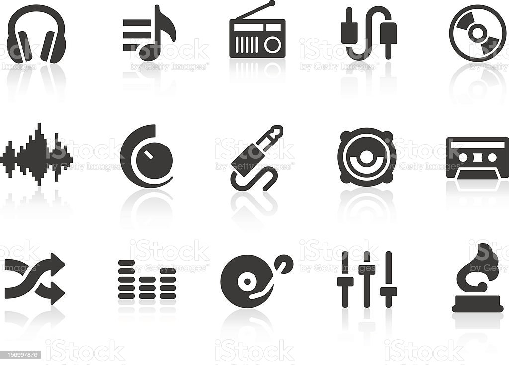 Set of music and audio icons vector art illustration