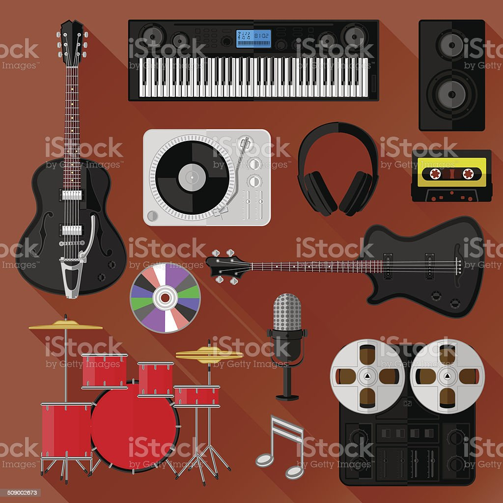 Set of music and sound objects. Flat design vector art illustration