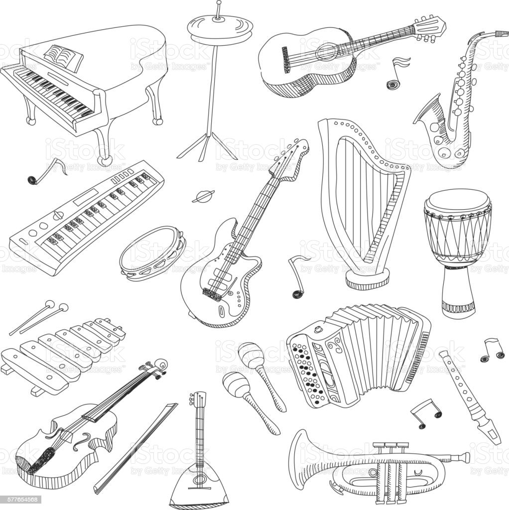 Set of Music Instruments - hand drawn vector vector art illustration