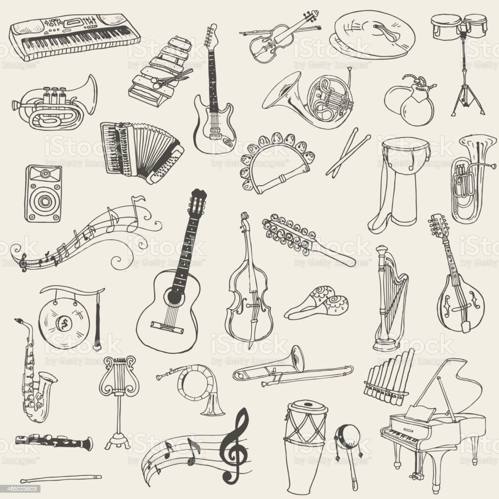 Set of Music Instruments vector art illustration