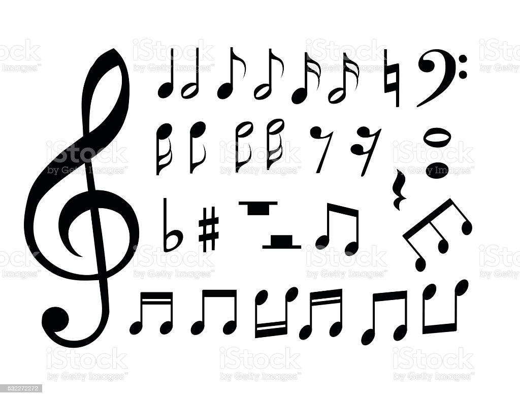 Set of music notes vector illustration vector art illustration