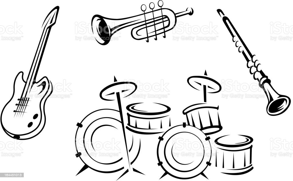 Set of musical instruments royalty-free stock vector art