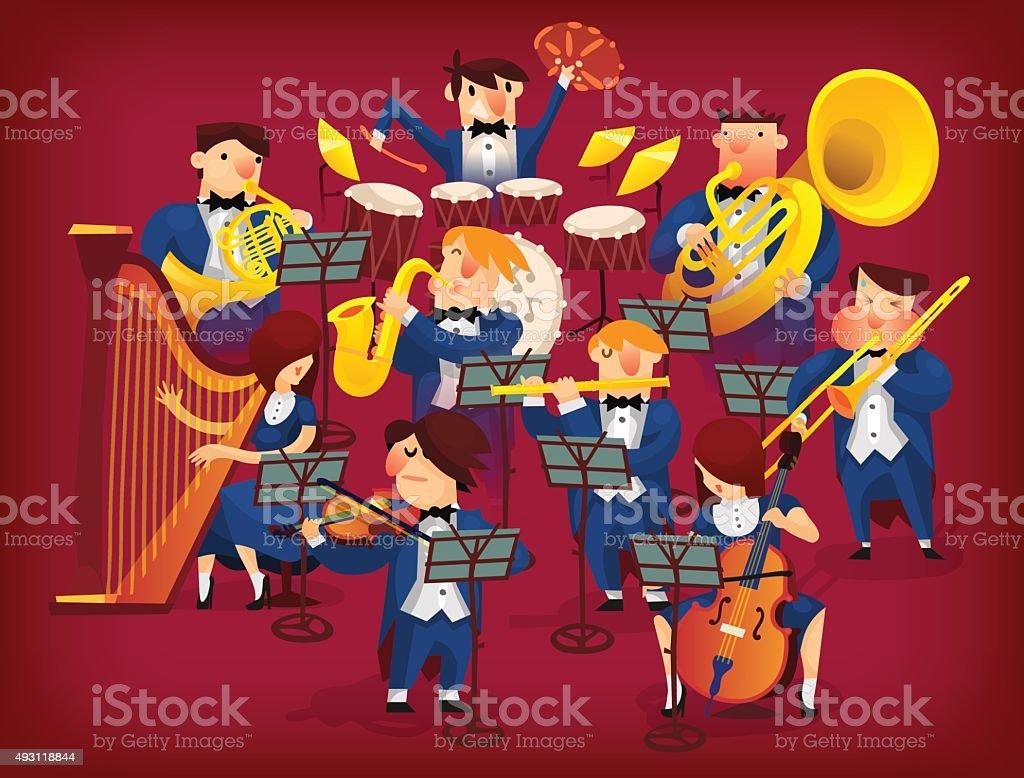 Set of musicians vector art illustration