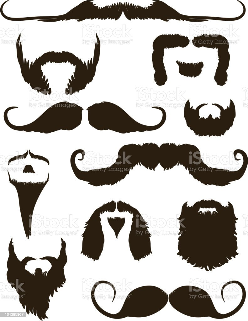 Set of mustache and beard silhouettes vector art illustration