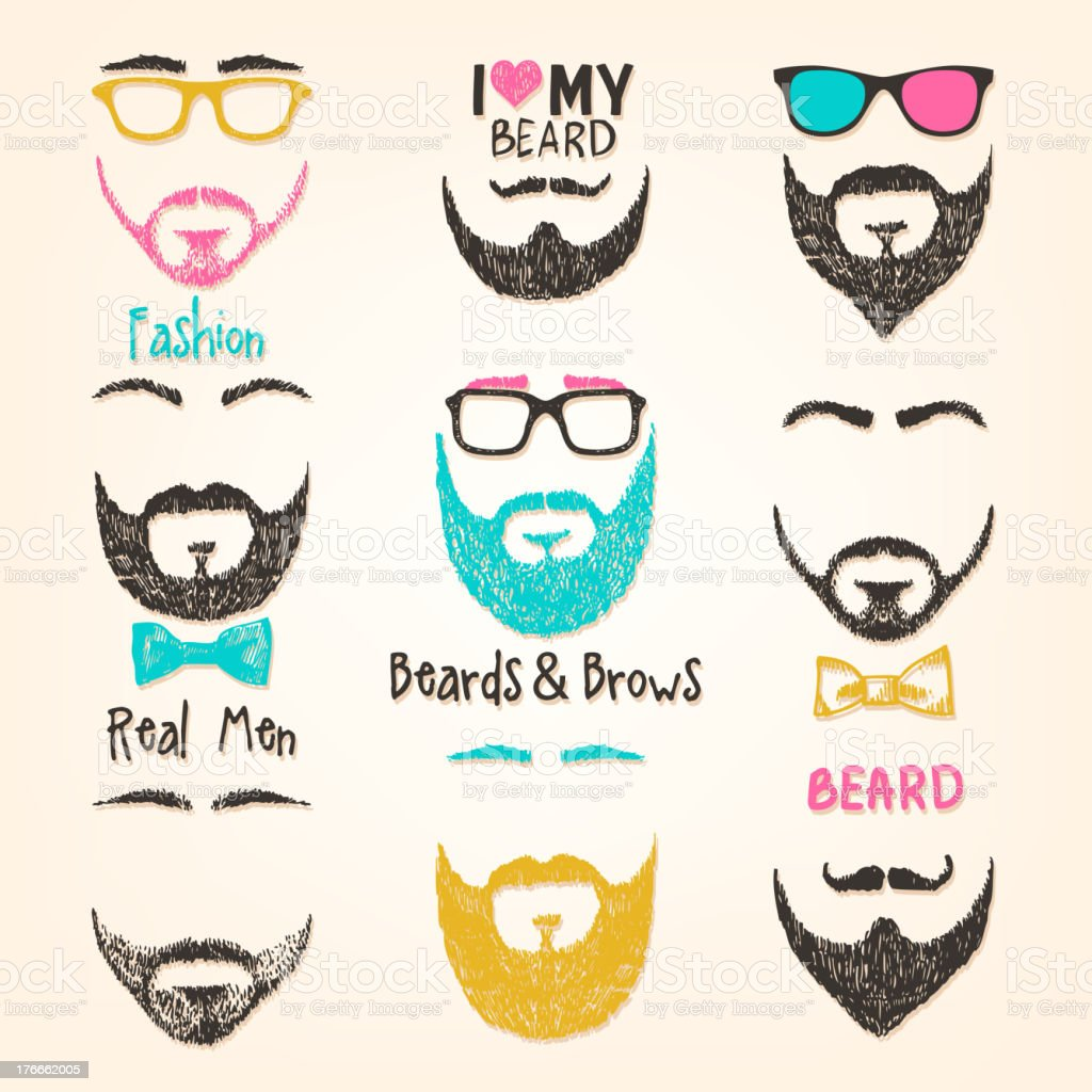 Set of mustache and beards vector art illustration