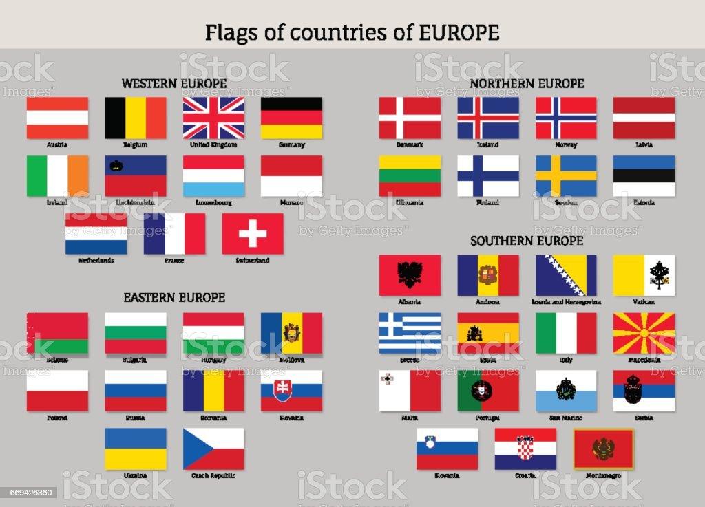 Set of national European flags. vector art illustration