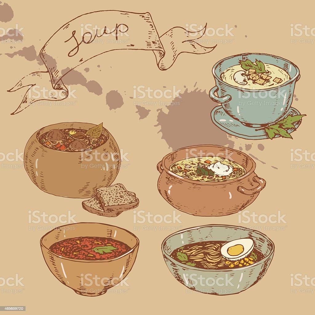 set of national soups vector art illustration