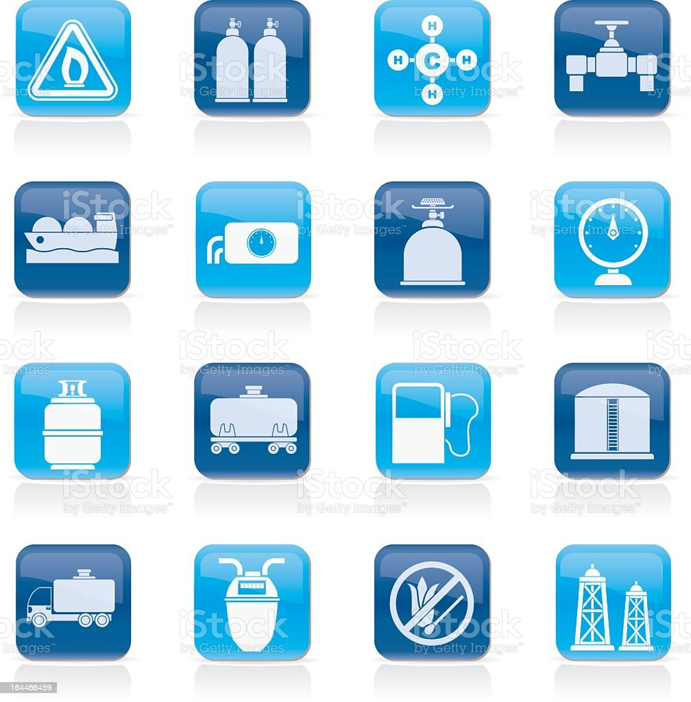 Set of natural gas related icons vector art illustration