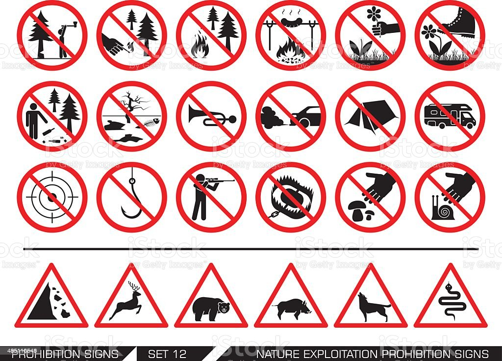 Set of nature exploitation prohibition signs vector art illustration