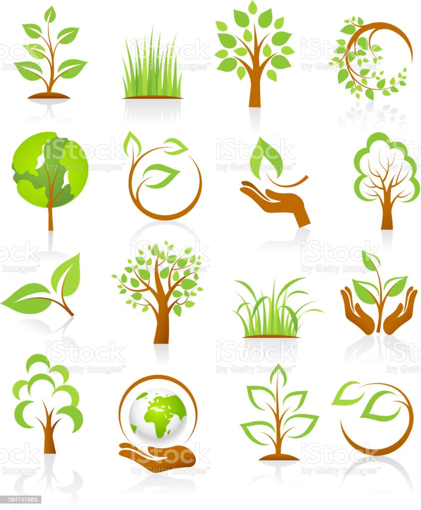 Set of nature icons vector art illustration