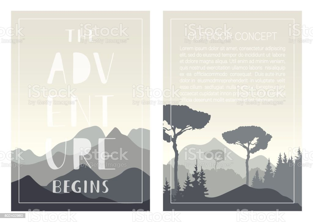 Set of nature landscape backgrounds with mountains, trees and handwritten phrase - The adventure begins. vector art illustration