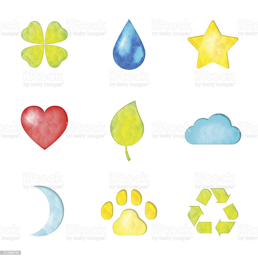 Set of nature symbols icons vector art illustration
