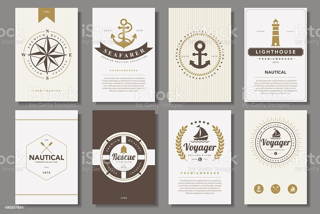 Set of  nautical brochures in vintage style vector art illustration