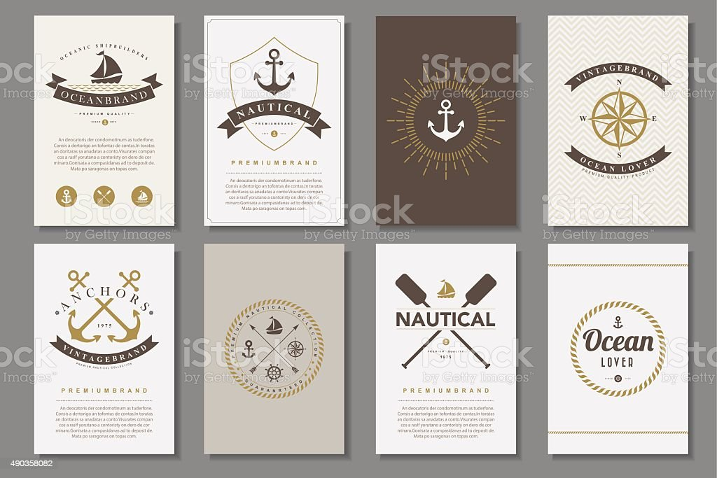Set of  nautical brochures in vintage style vector art illustration
