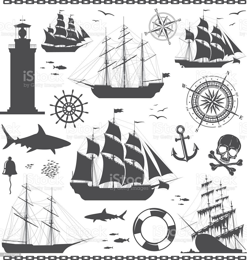 Set of nautical design elements vector art illustration