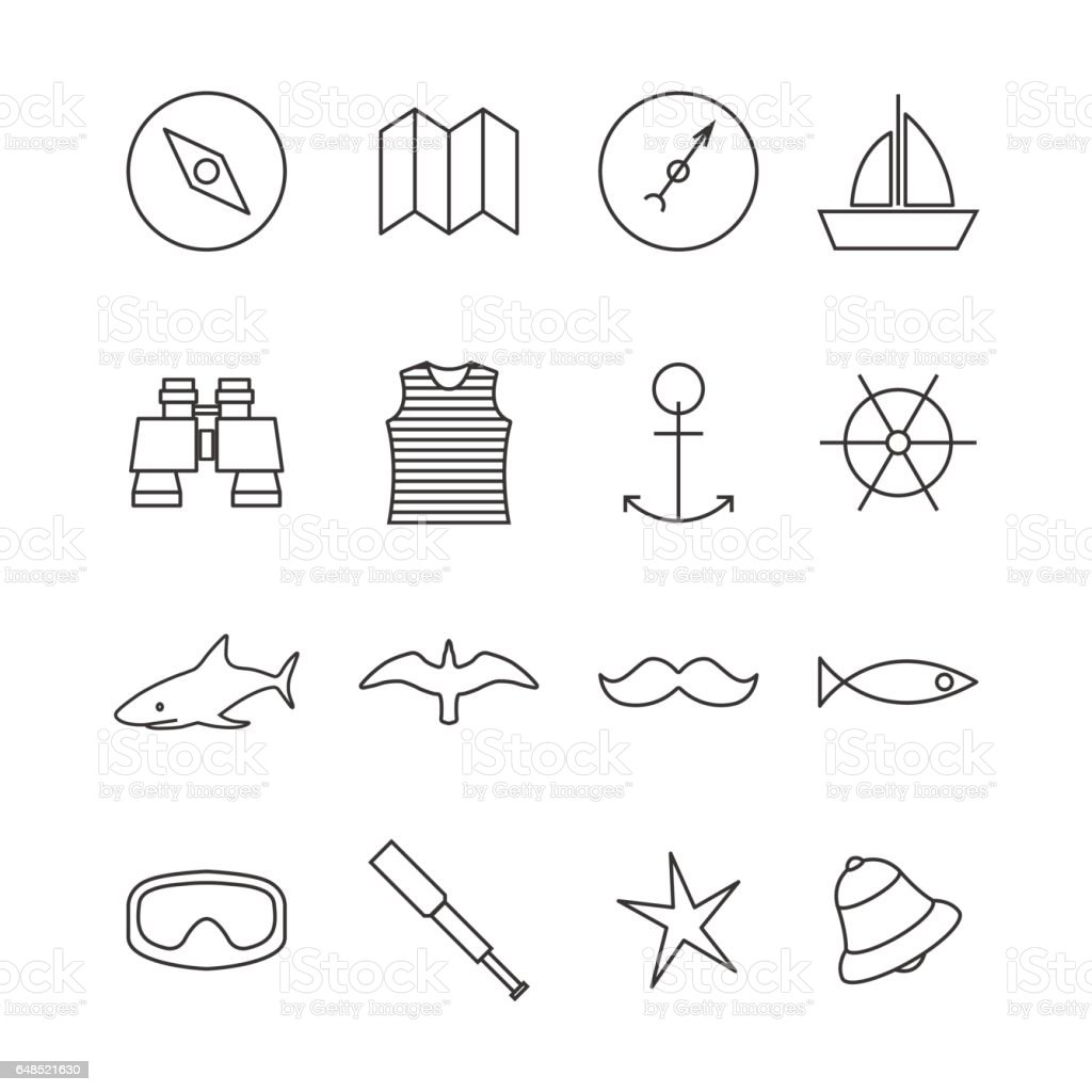 Set of nautical icons, vector illustration. vector art illustration