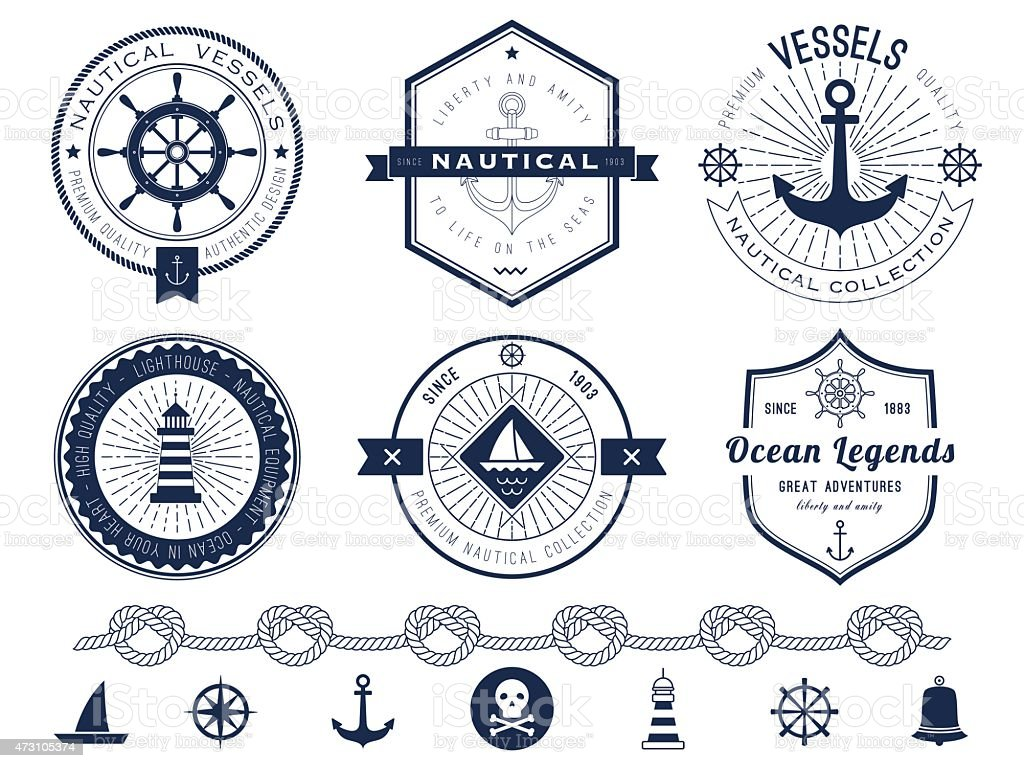 Set of nautical logos, badges and labels vector art illustration