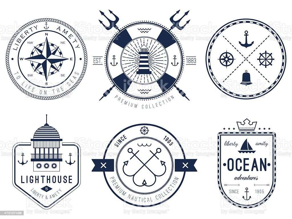 A Set of nautical logos, badges and labels vector art illustration