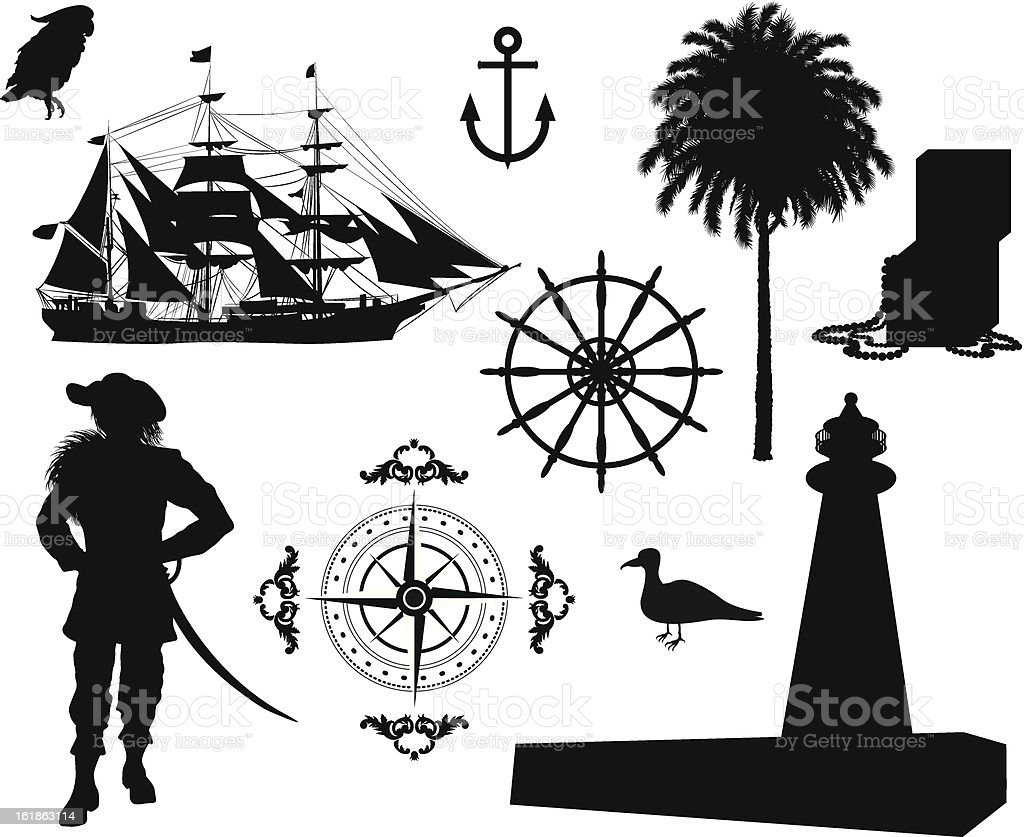 Set of Nautical Pirate pictures royalty-free stock vector art