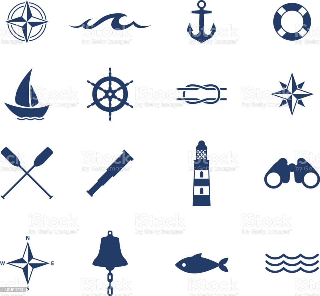 Set of nautical sea ocean sailing icons vector art illustration