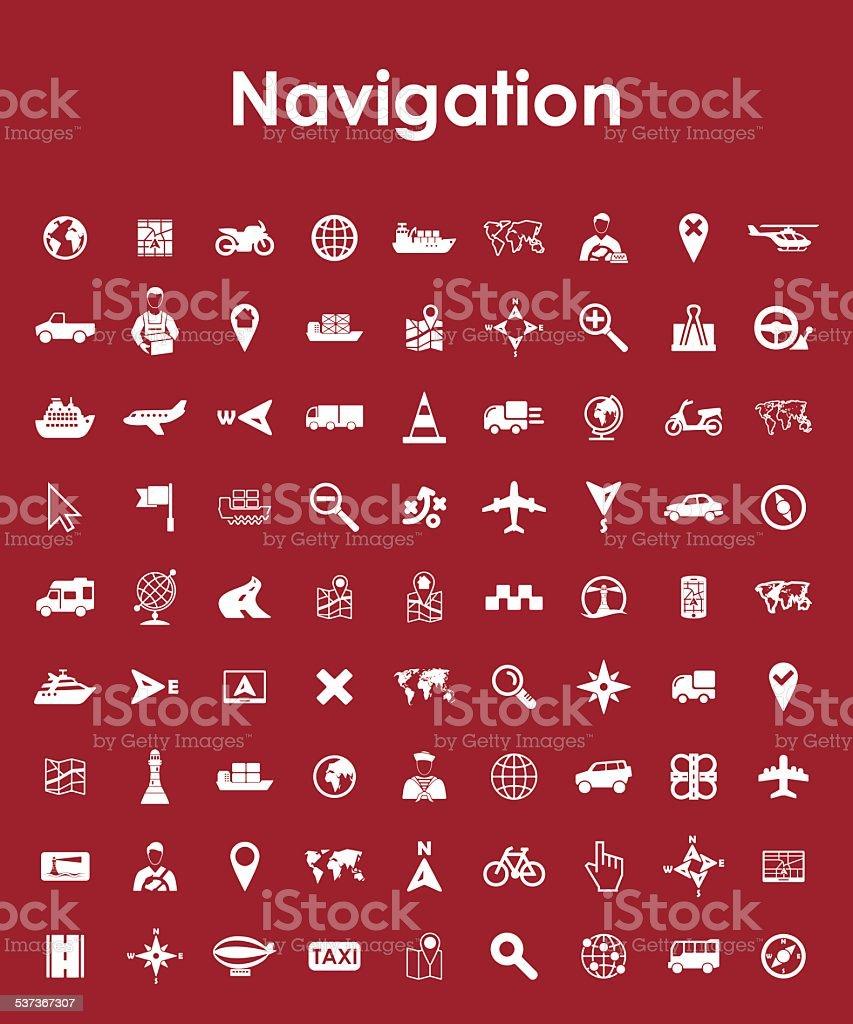 Set of navigation simple icons vector art illustration