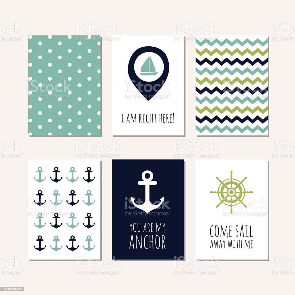 Set of navy theme cards vector art illustration