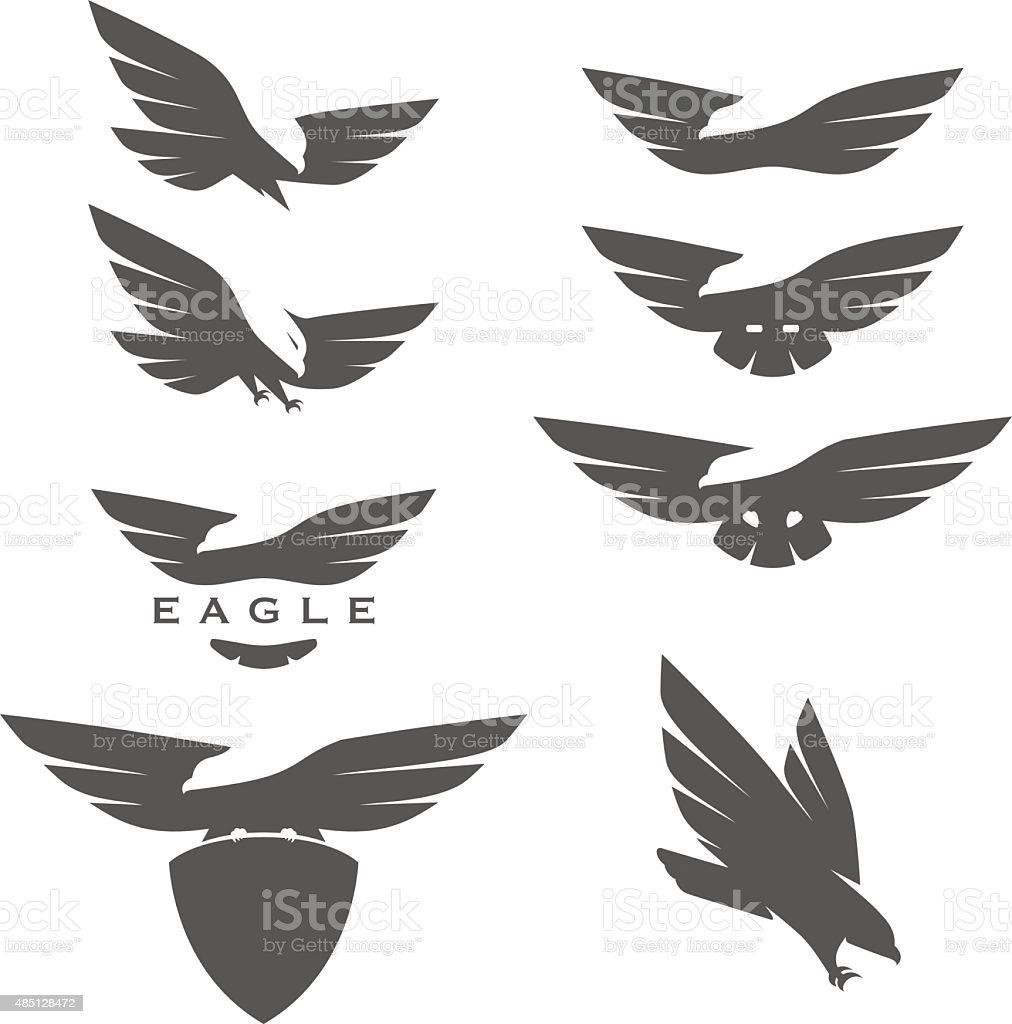 Set of negative space emblems with eagles vector art illustration