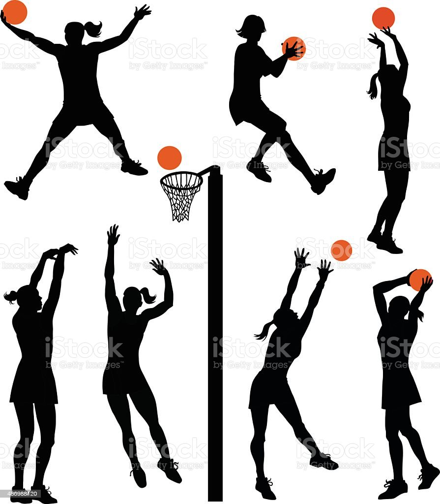 Set of Netball Players - Isolated Silhouettes vector art illustration