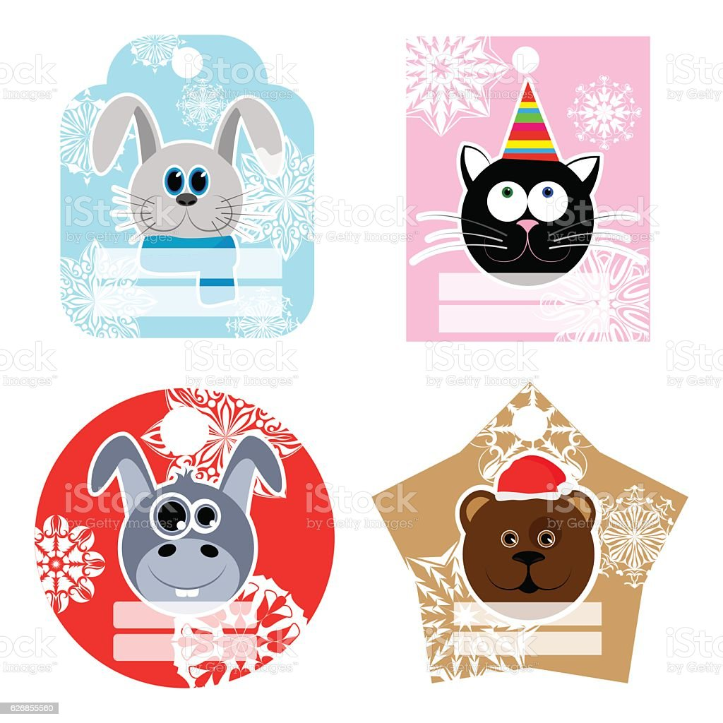 Set of New Year and Christmas labels. Labels with animals vector art illustration