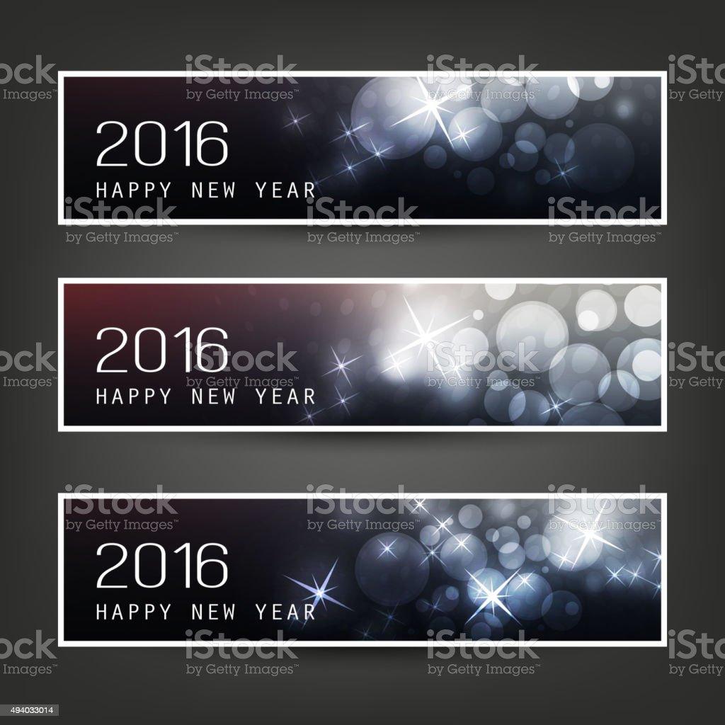 Set of New Year Headers - 2016 vector art illustration