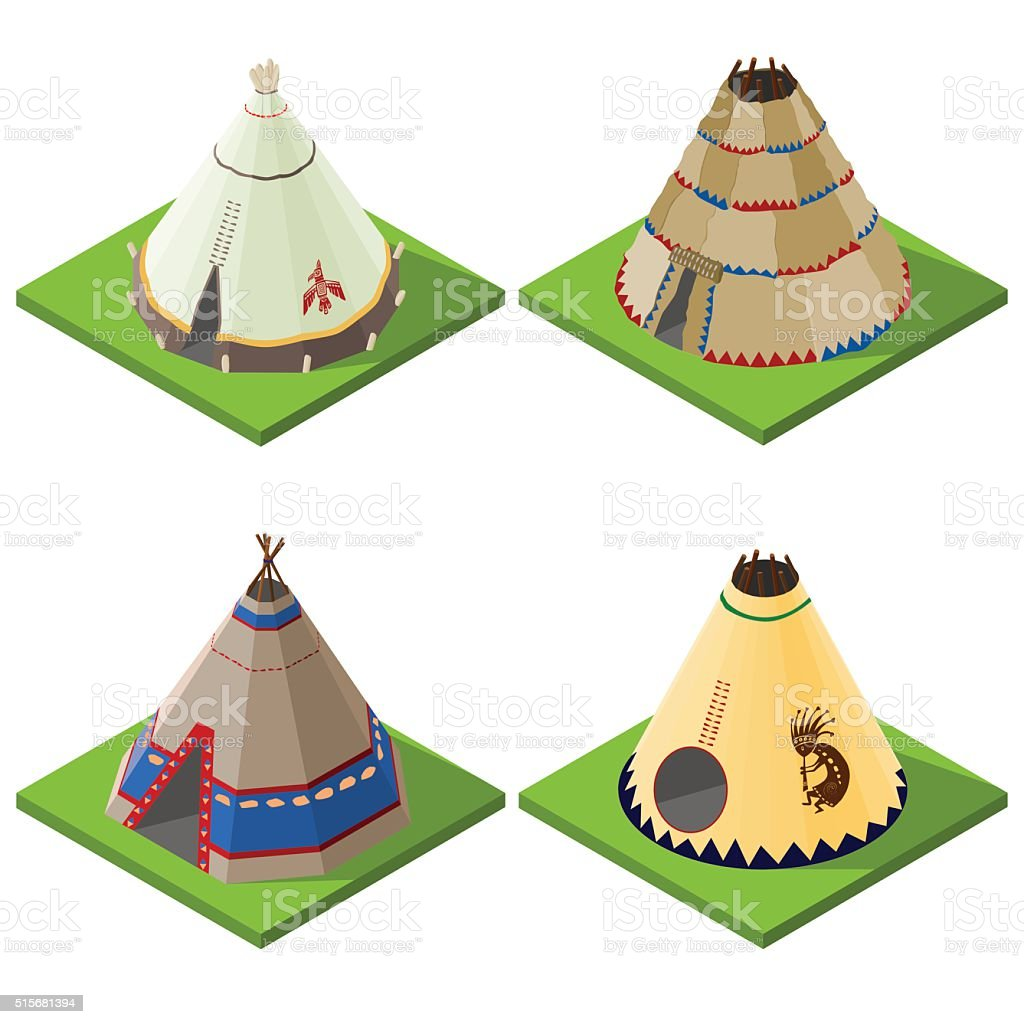Set of nice looking bright isometric indian wigwams and tents. vector art illustration