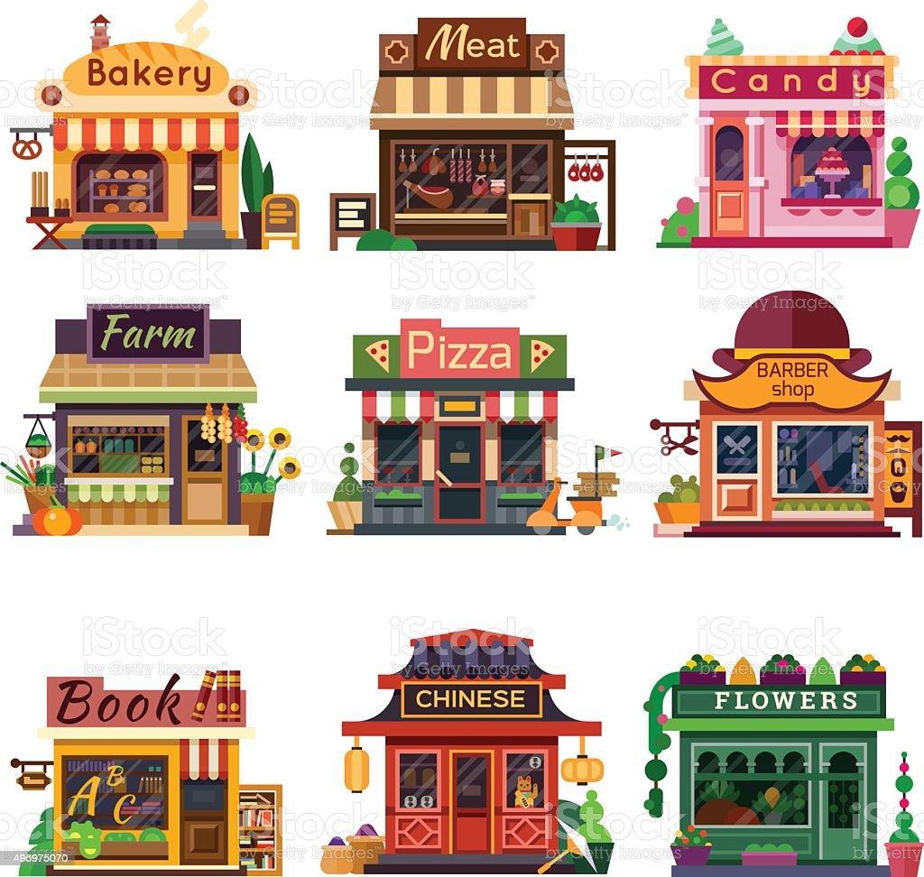 Set of nice shops #4 vector art illustration