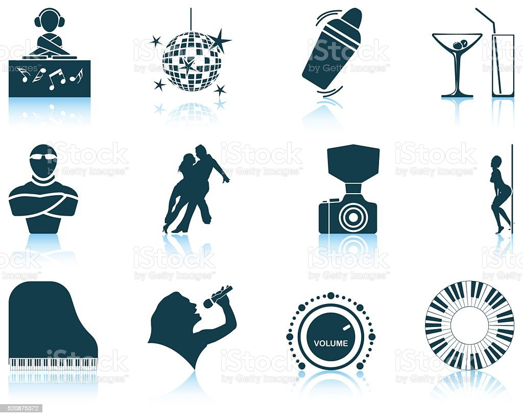 Set of Night club icons vector art illustration