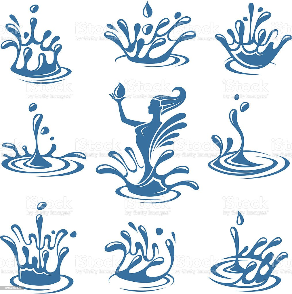 A set of nine blue water related icons royalty-free stock vector art