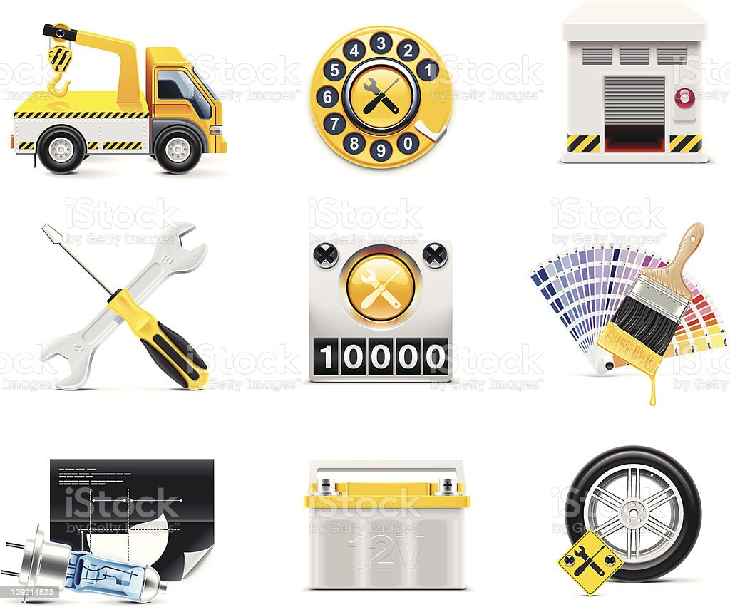 Set of nine car service icons in yellow and gray royalty-free stock vector art