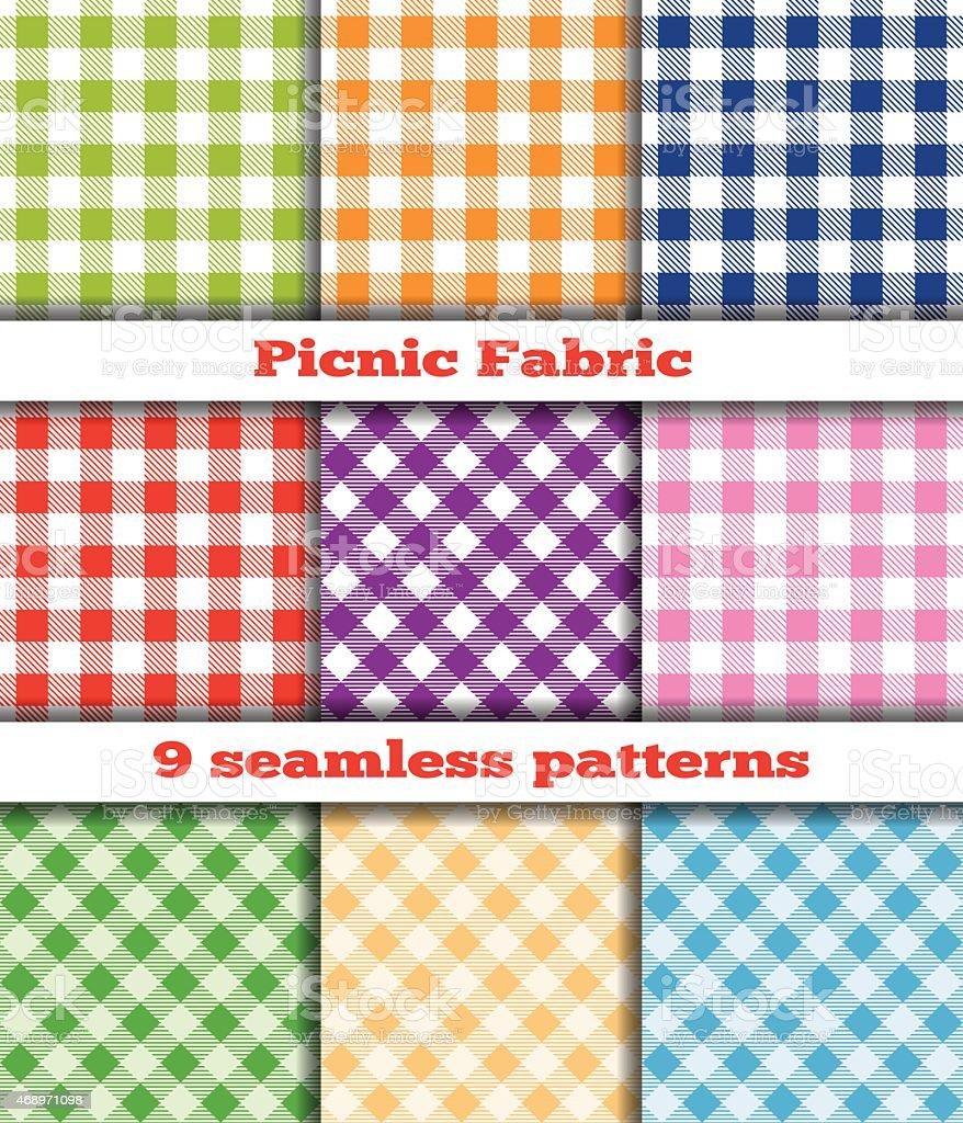 Set of nine checkered seamless patterns for picnic fabrics vector art illustration
